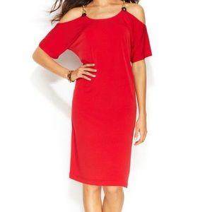 Michael Kors Red Cold Shoulder Chain Strap Dress
